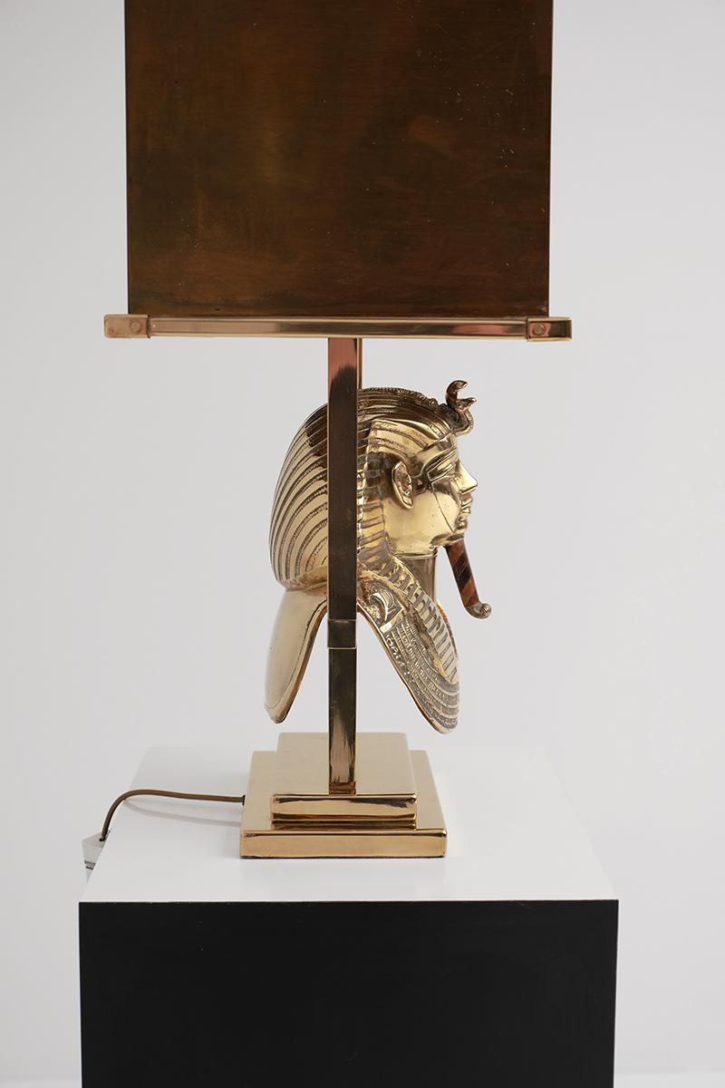 TUTANKHAMUN BRASS SIGNED TABLE LAMP 1970S image 5