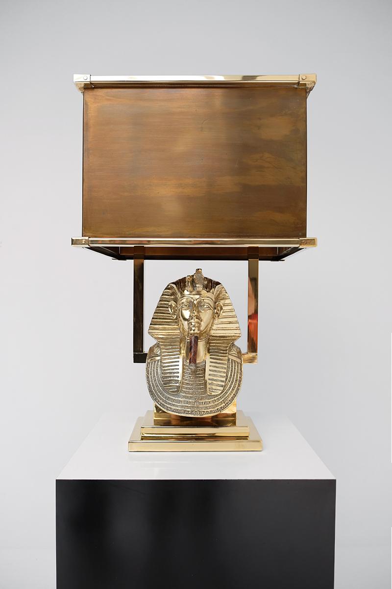 TUTANKHAMUN BRASS SIGNED TABLE LAMP 1970S image 2