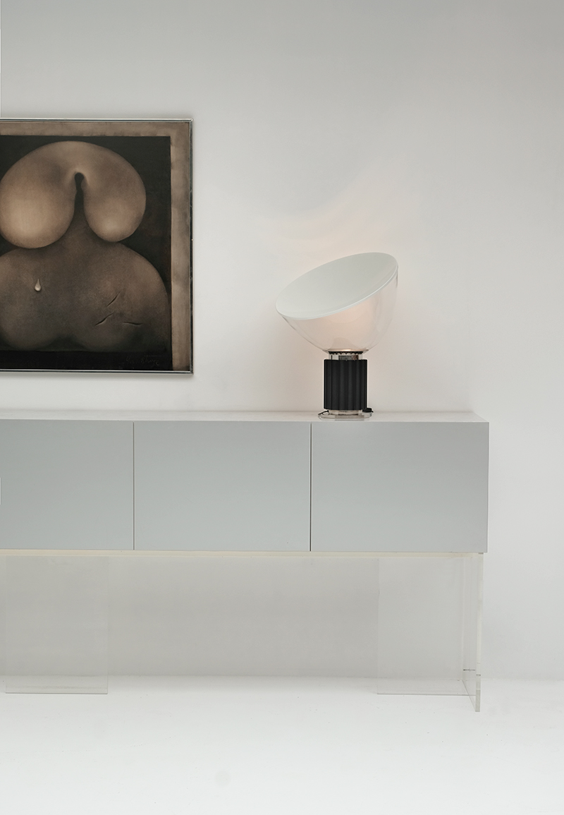 V form long sideboard with Lucite base