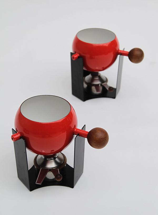 Mid-century teak, fondue set image 1