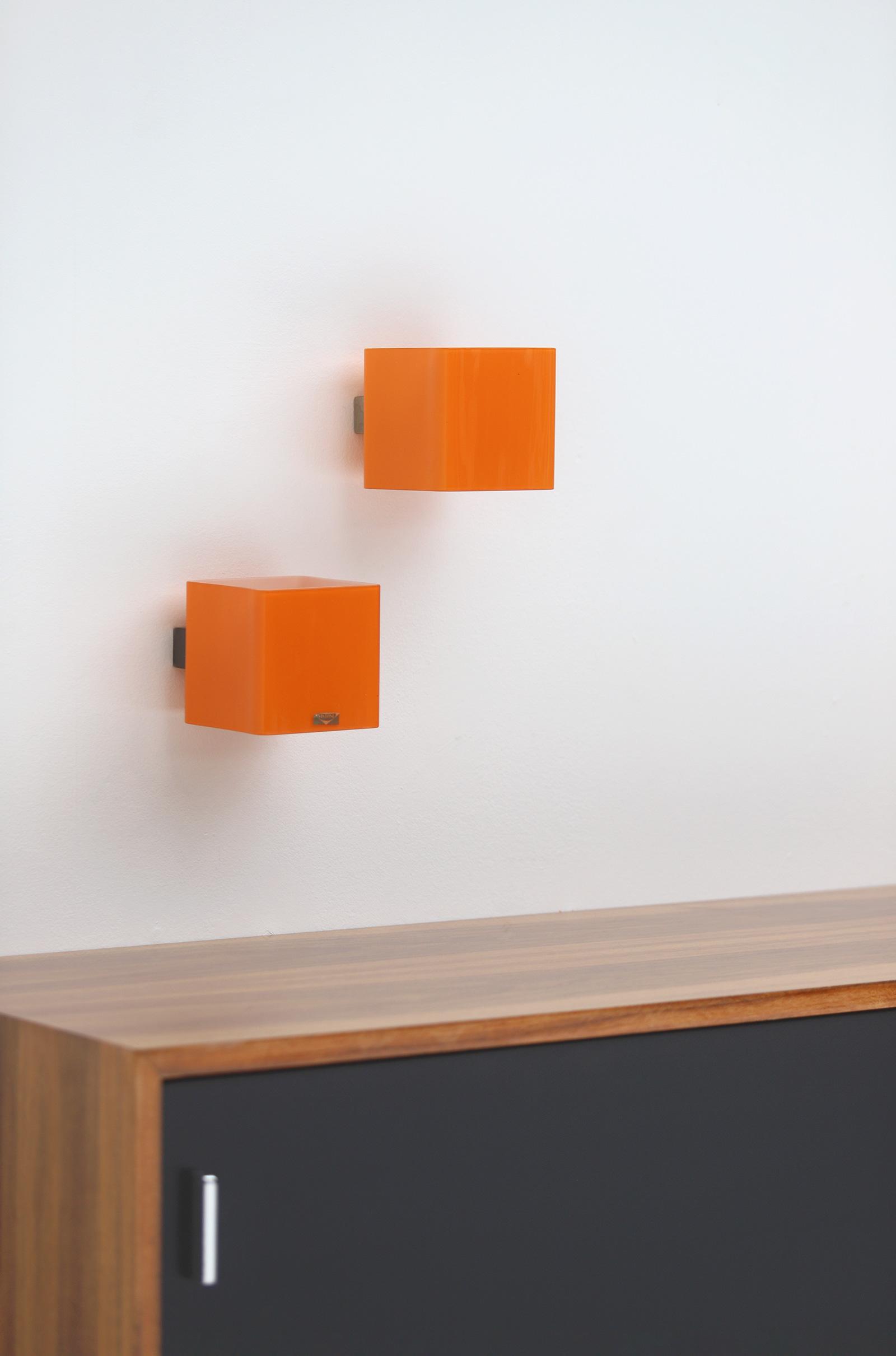 Pair of vistosi orange wall sconces 1963image 5