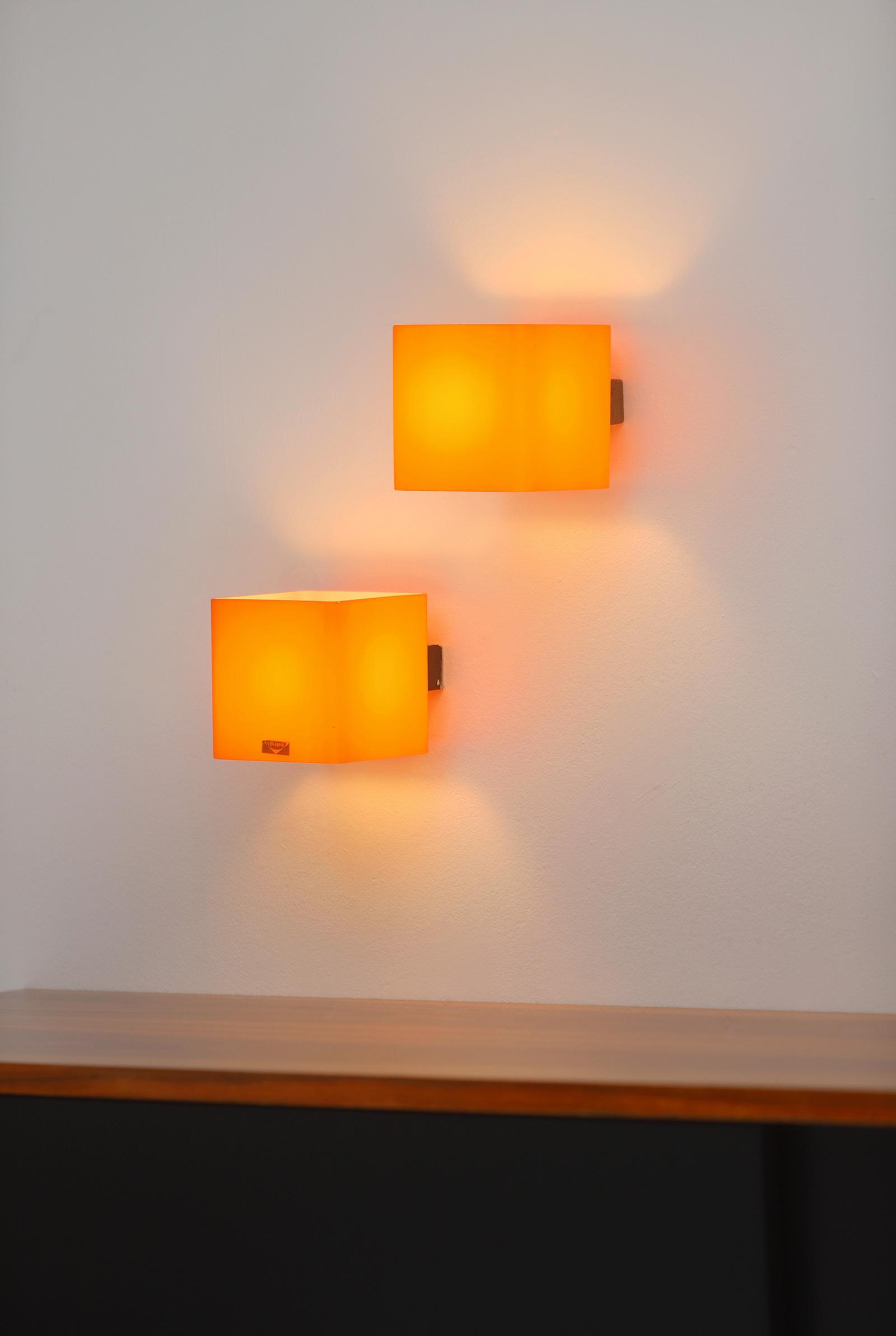 Pair of vistosi orange wall sconces 1963image 3