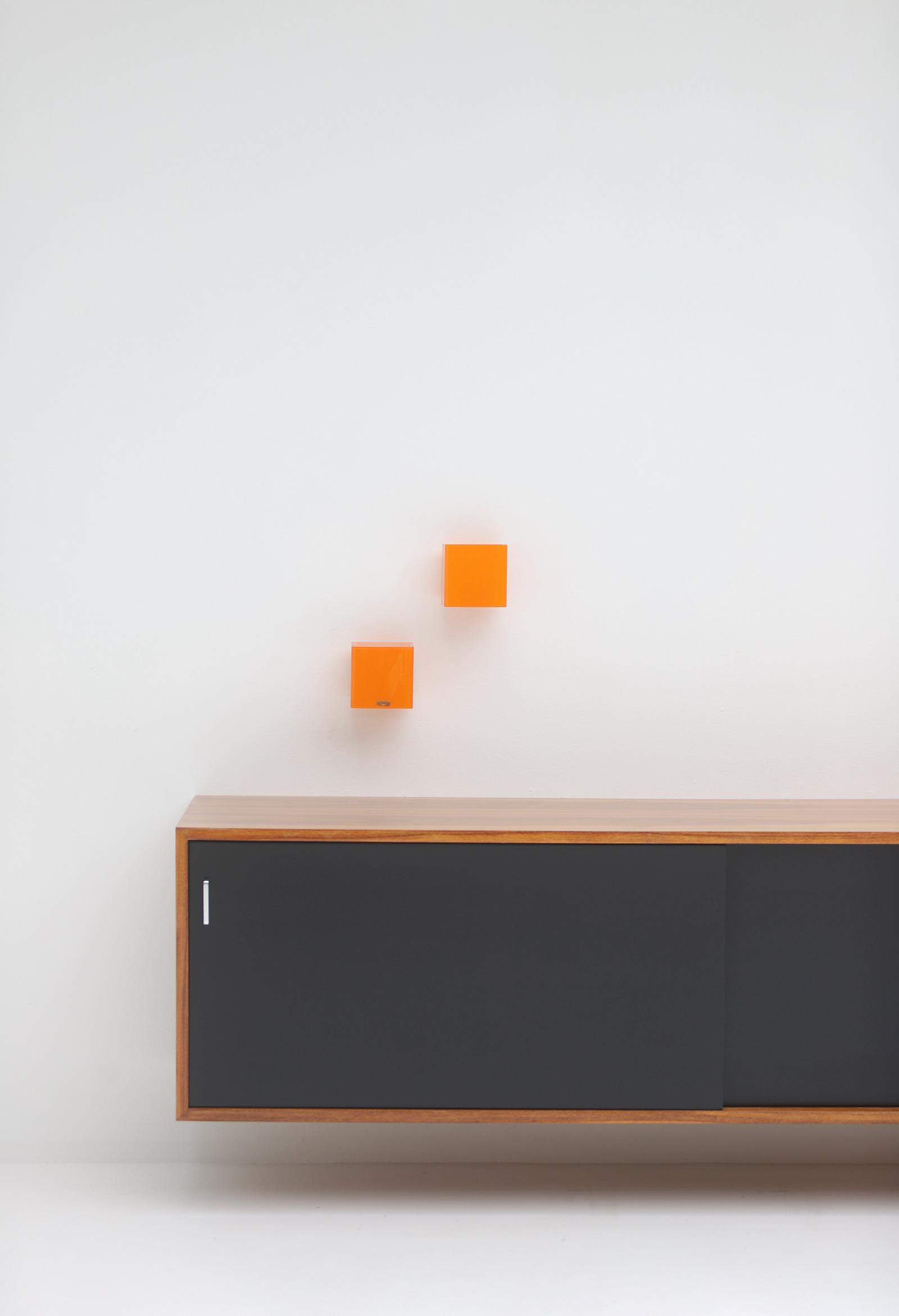 Pair of vistosi orange wall sconces 1963image 4