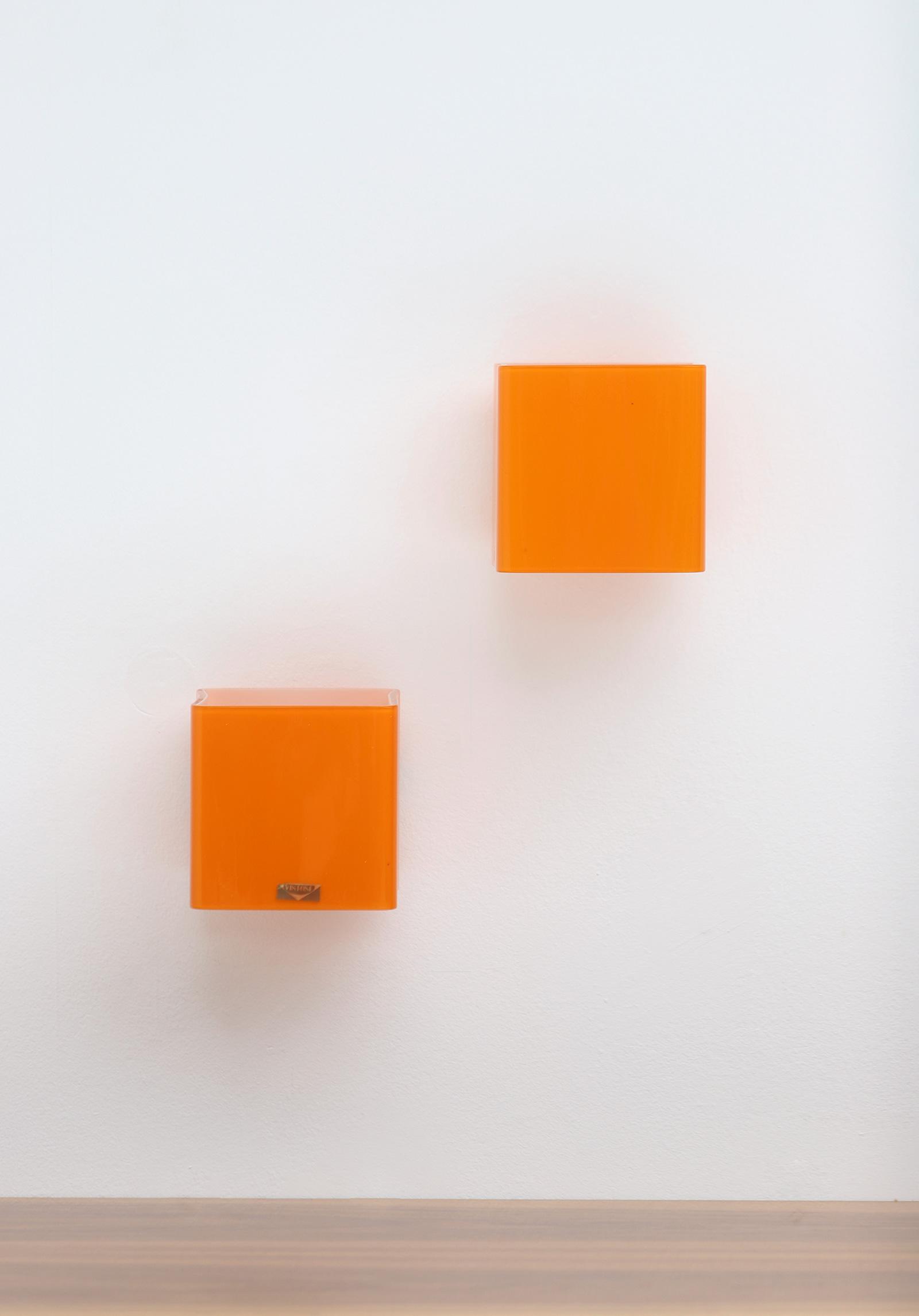 Pair of vistosi orange wall sconces 1963image 12