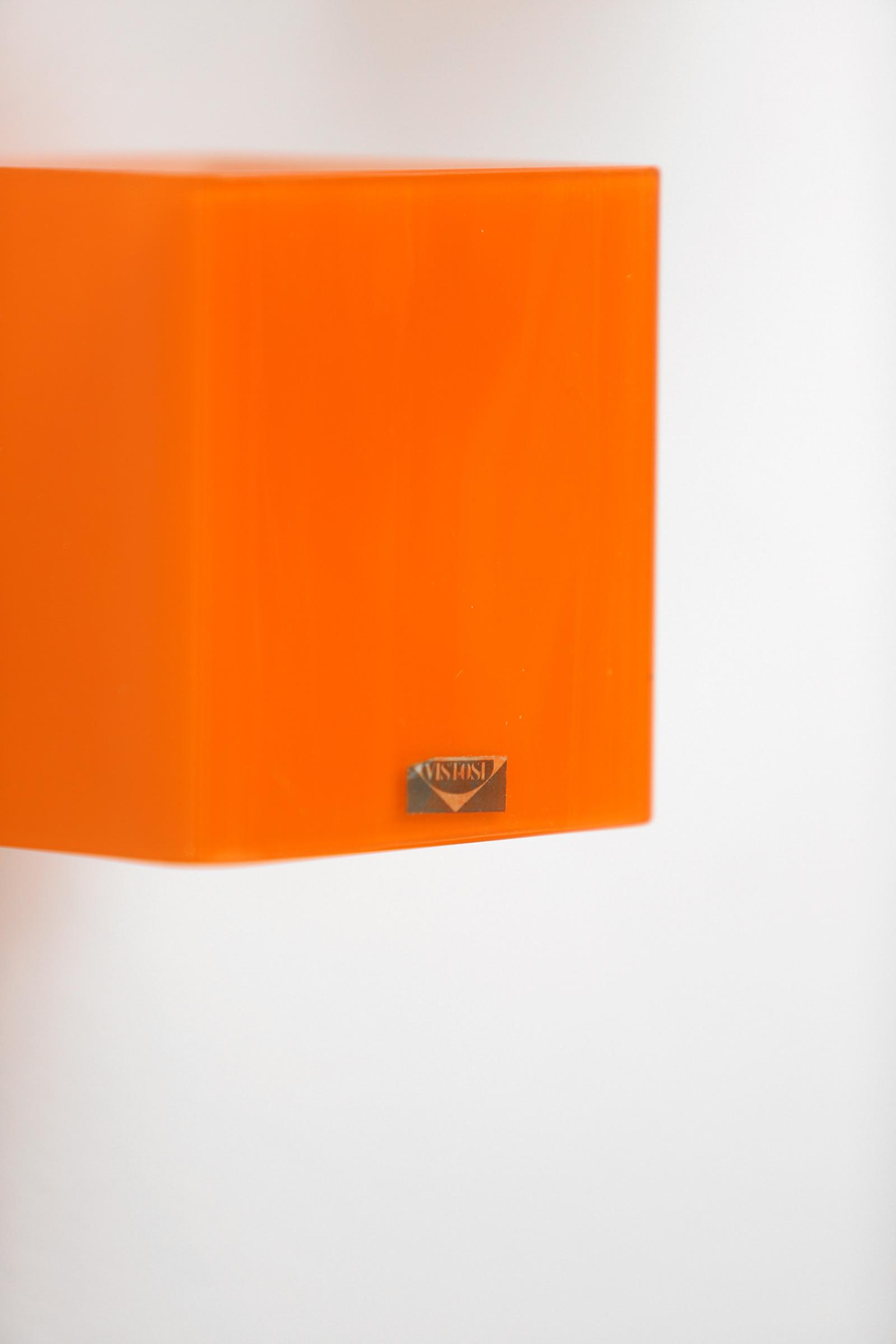 Pair of vistosi orange wall sconces 1963image 10