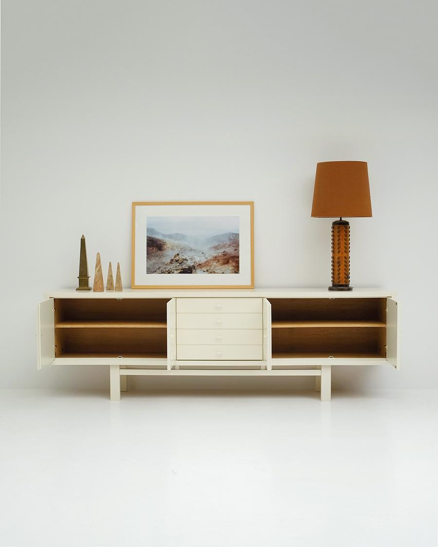 Cream colored brutalist sideboard