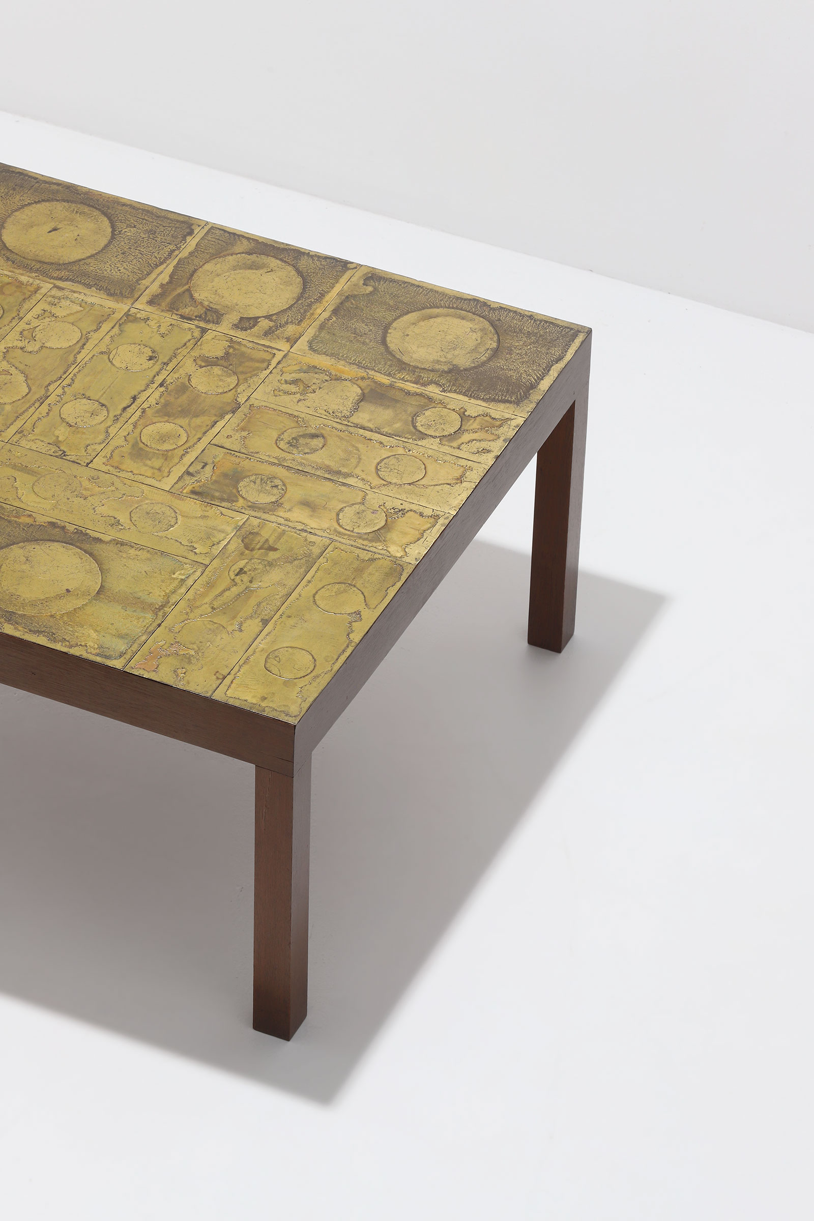 Willy Daro Brass etched Coffee Table 1970s