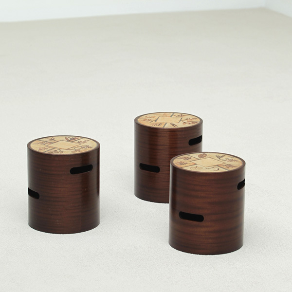 3 cylinder small side tables, design 'R.LEDUC' 'VALLAUR