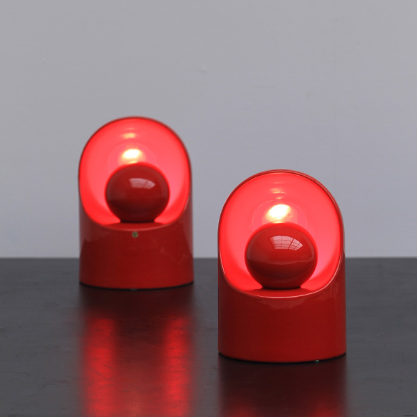 Rare set of red ceramic lamps 'Marcello Cuneo' for Gabianell