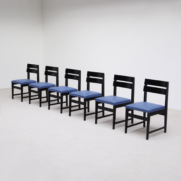 6 black ebonized dinning chairs