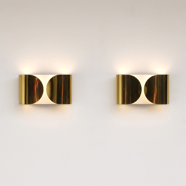 "Italian Stainless Steel Sconces ""Foglio"" by Tobia Scarpa for"
