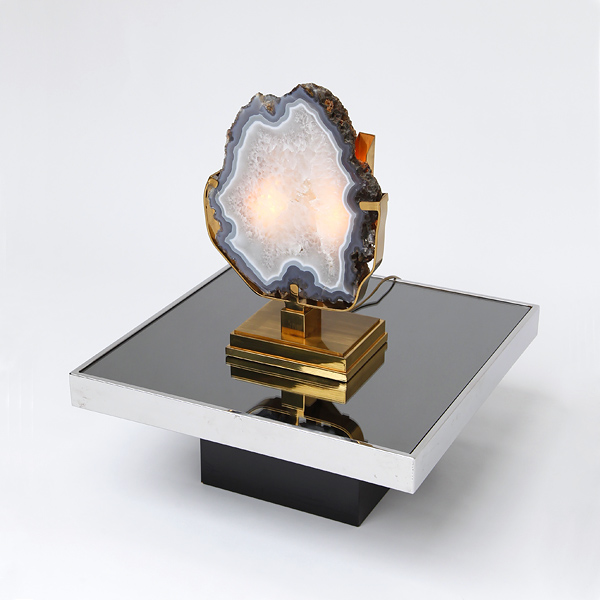 Large Willy Daro Table Lamp with Agate 1970's