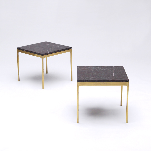 Elegant Marble Top Brass Leg Side Table 1960s