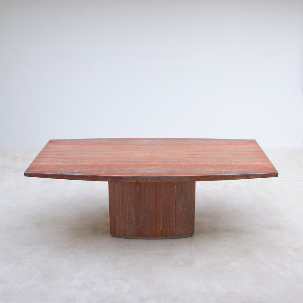Red travertin Willy Rizzo dining table 1970s