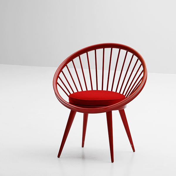 YNGVE EXSTROM SWEDEN RED CIRCLE CHAIR