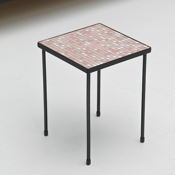 Square shaped mosaic tile top coffee table
