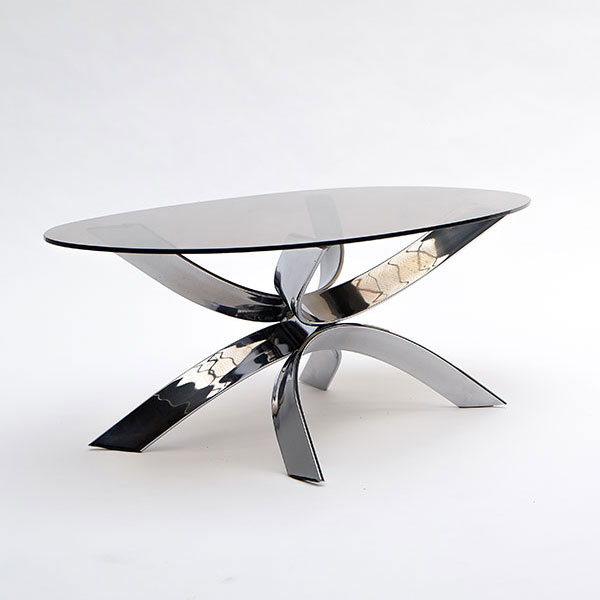 Sculptural chrome coffee table