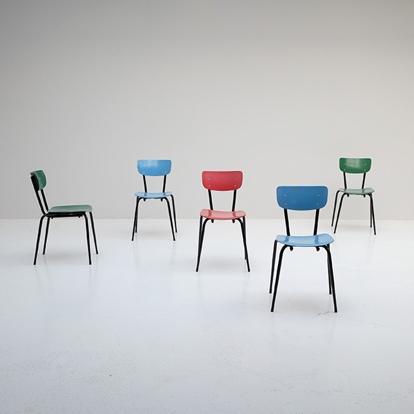 1960s colorful school chairs