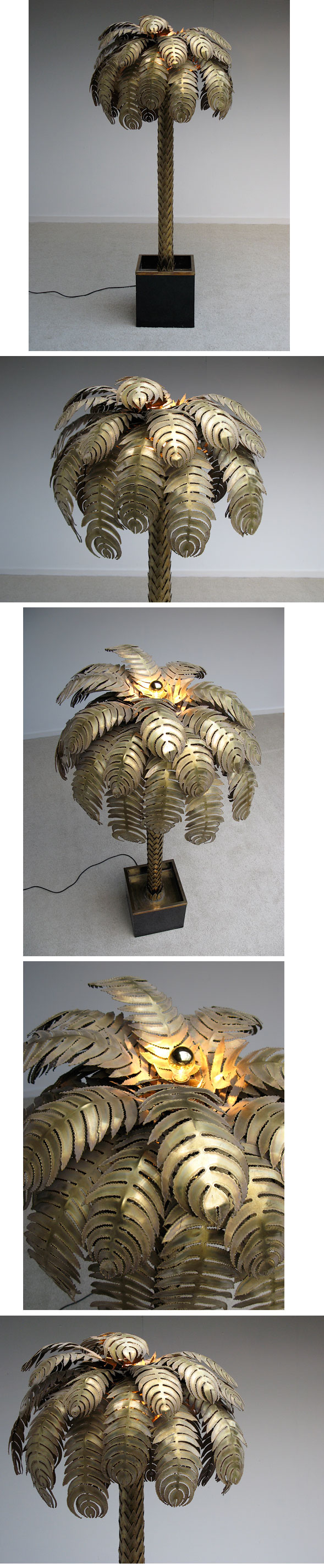 Modern, French, brass, palm, tree, floor, lamp, 1970, rizzo