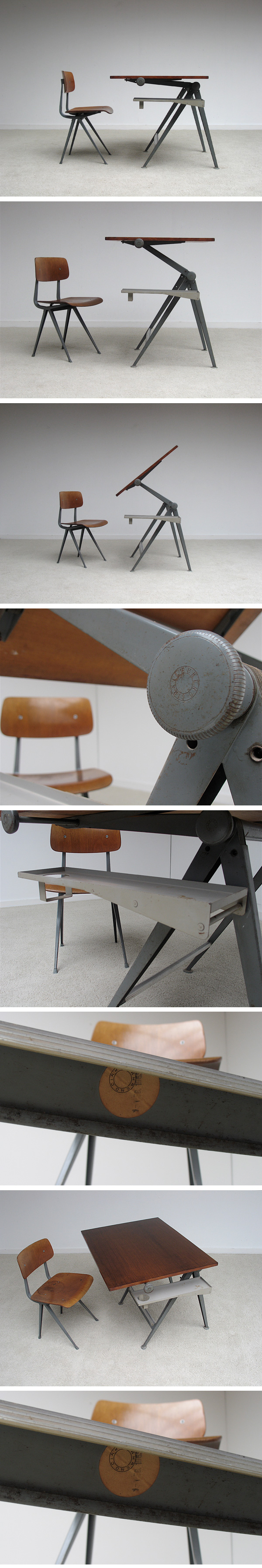 Friso, Kramer, Industrial, drafting, table, chair