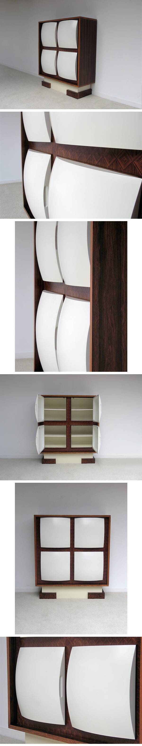 1960s, Unusual,  rosewood, cabinet, space, age, doors