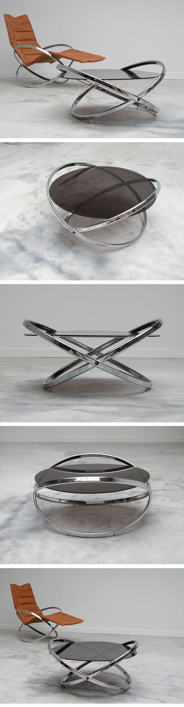 1970, JET STAR, coffee, table, Roger Lecal, 60s, chrome, pergay