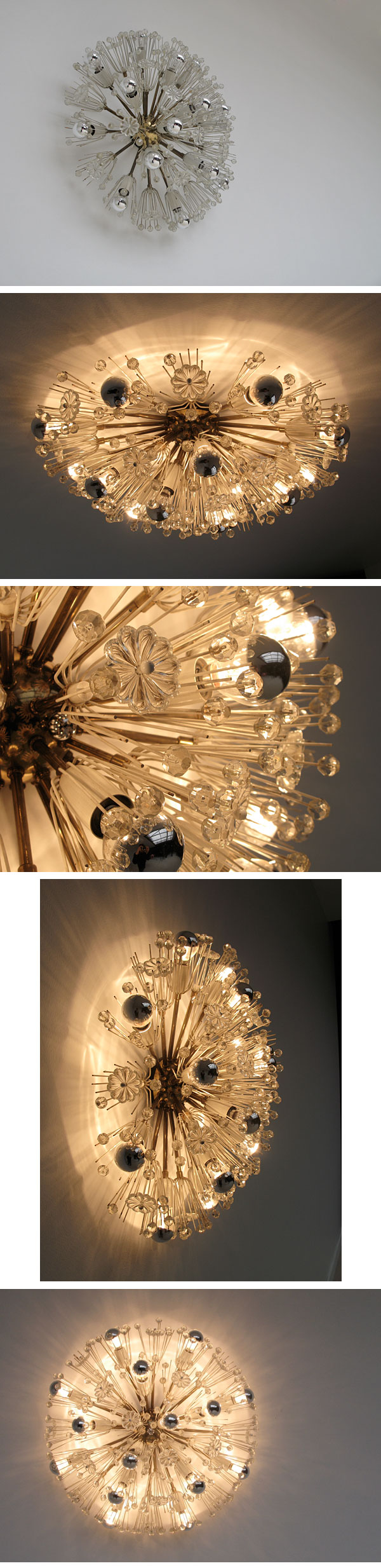 beautifull, decorative, 50s, sputnik, flower, ceiling, lamp