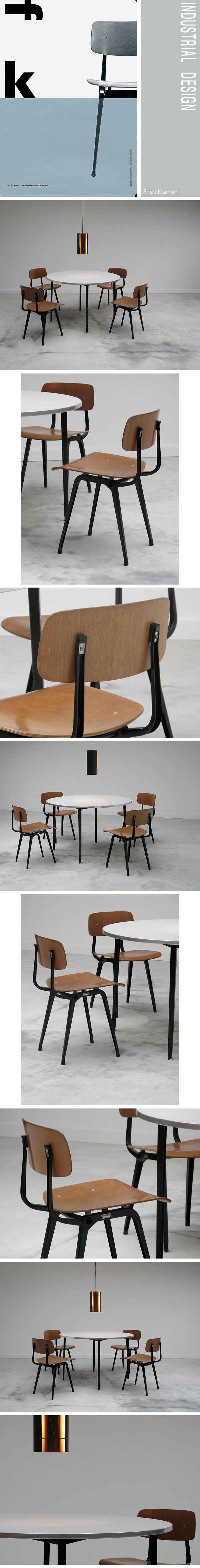 industrial, design, Friso, Kramer, round, table, chairs, 1960s, dutch
