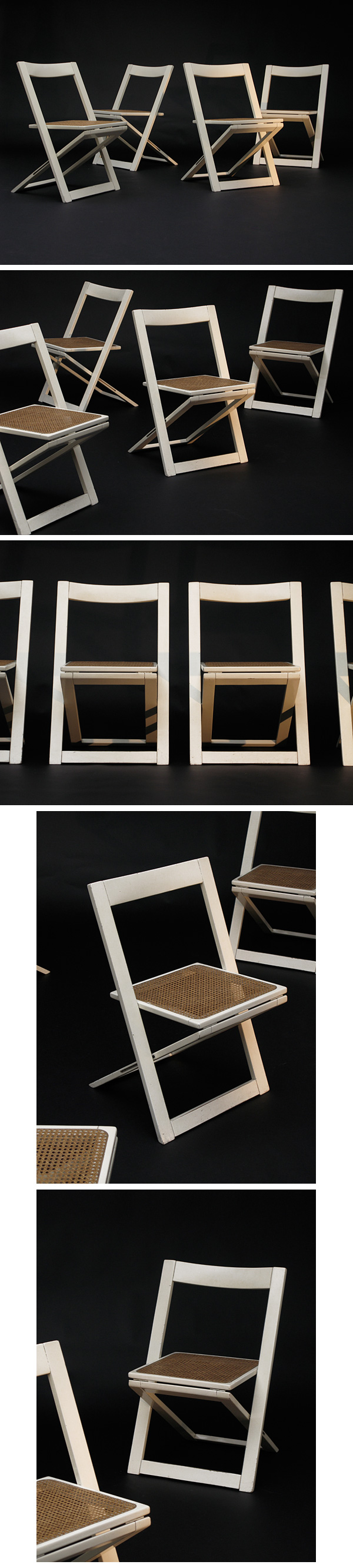 decorative, white, laquered, folding, chairs, 1970s, woody allen