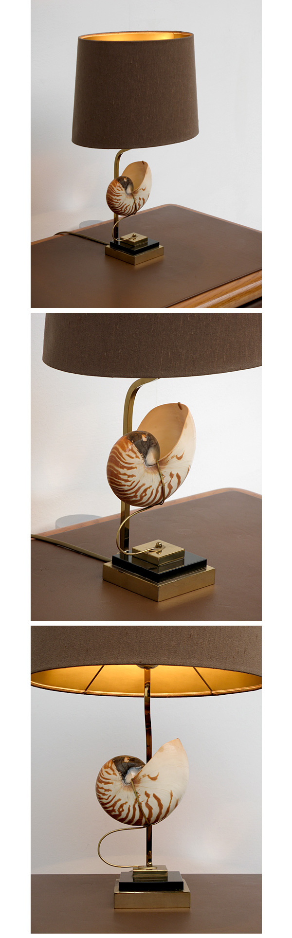 1970s, sea, shell, table, lamp, brown, shade