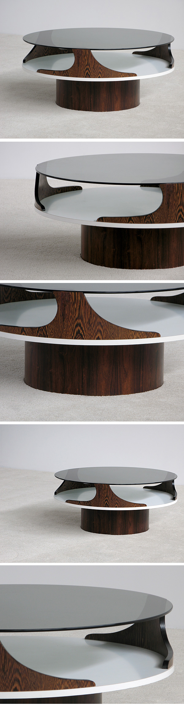 1970, decorative, wenge, coffee, table, smoked, glass