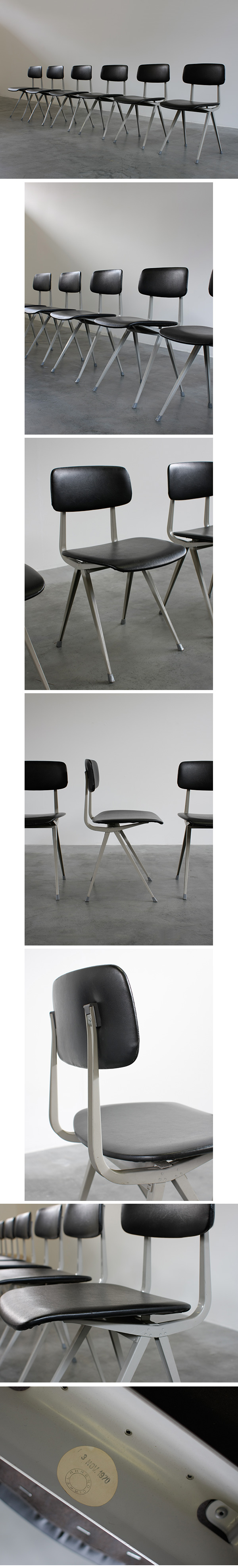 Friso Kramer, chairs, dated, 1970, black, vinyl, seats, 1950s
