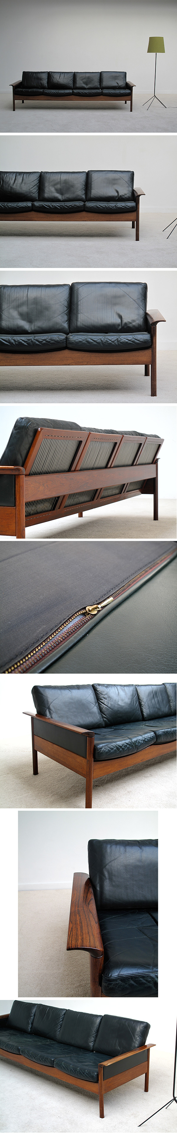 Hans Olsen, rosewood, black, leather, seat, sofa, 1960s