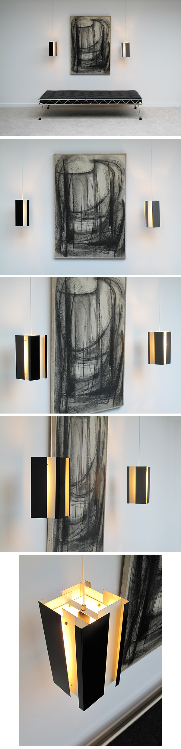 colored, grey, black, and, white, pilastro, lamps, 1950s