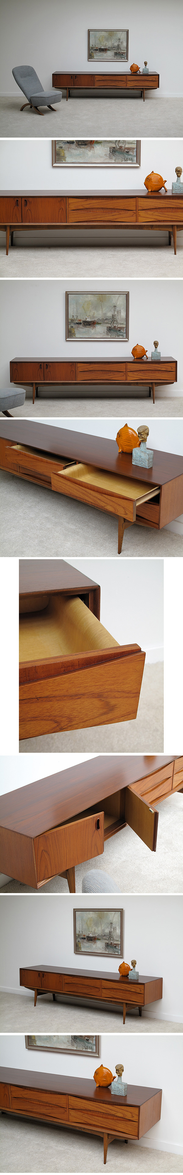 1960s, Oswald, Vermaercke, Ultra, low, V-form, Paola, sideboard