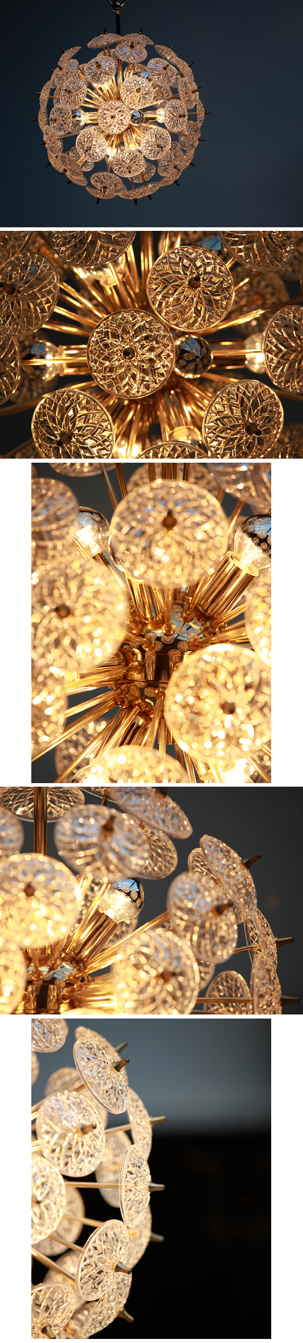 1960s, Sputnik, chandelier, brass, form, pressed, glass, disks, design