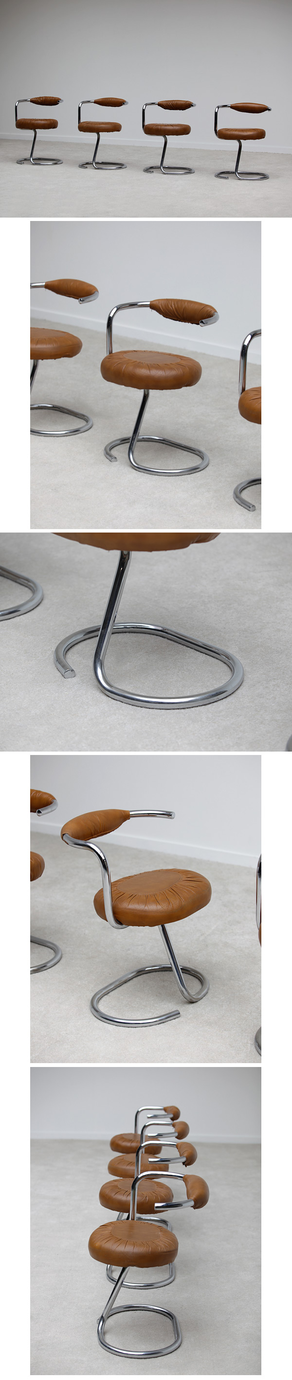 Tubular, chrome, dining, side, chairs, 1970s