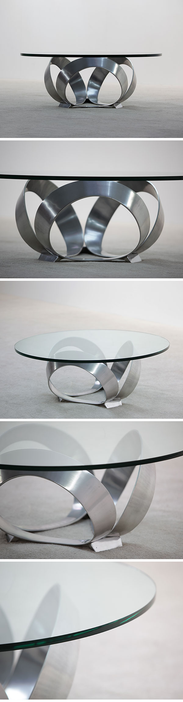 polished, metal, coffee, table, thick, glass, 1970s