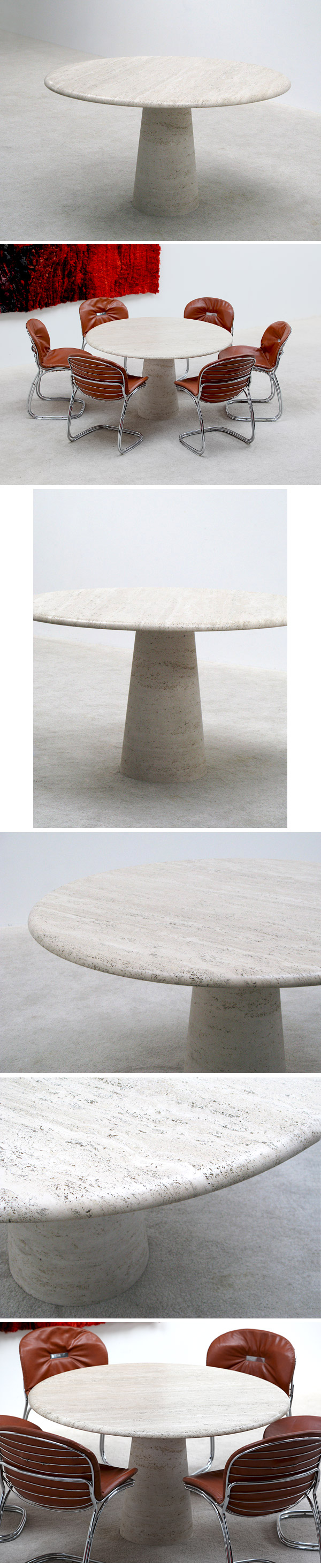 1970s, nice, round, travertin, dining, table