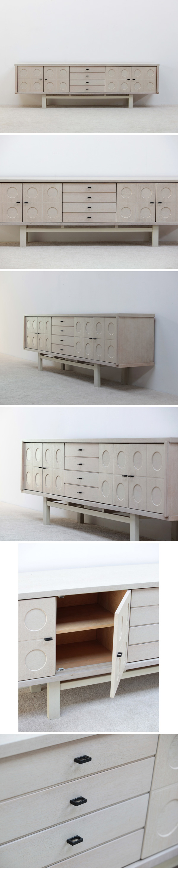 1970, Large, white, full, oak, sideboard, graphic, doors