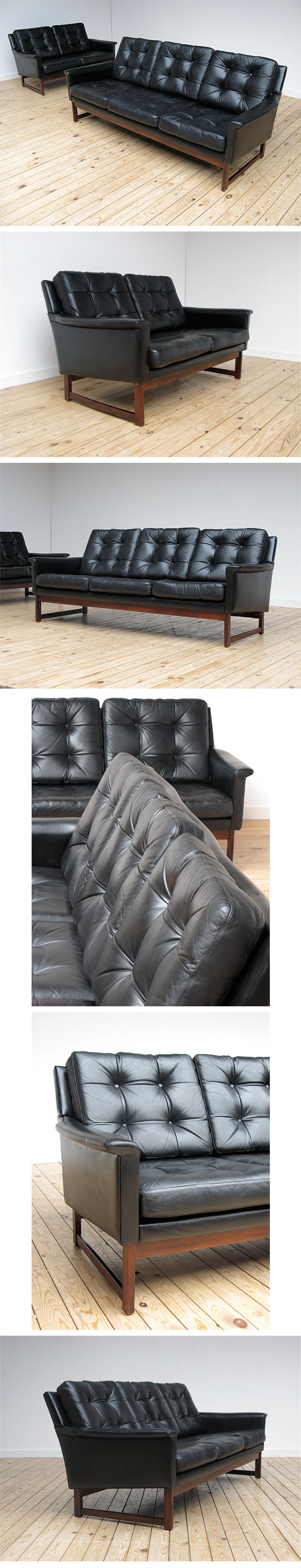 mid-century, black leather, couch, sofa, Danish, modern, 1950, 1960