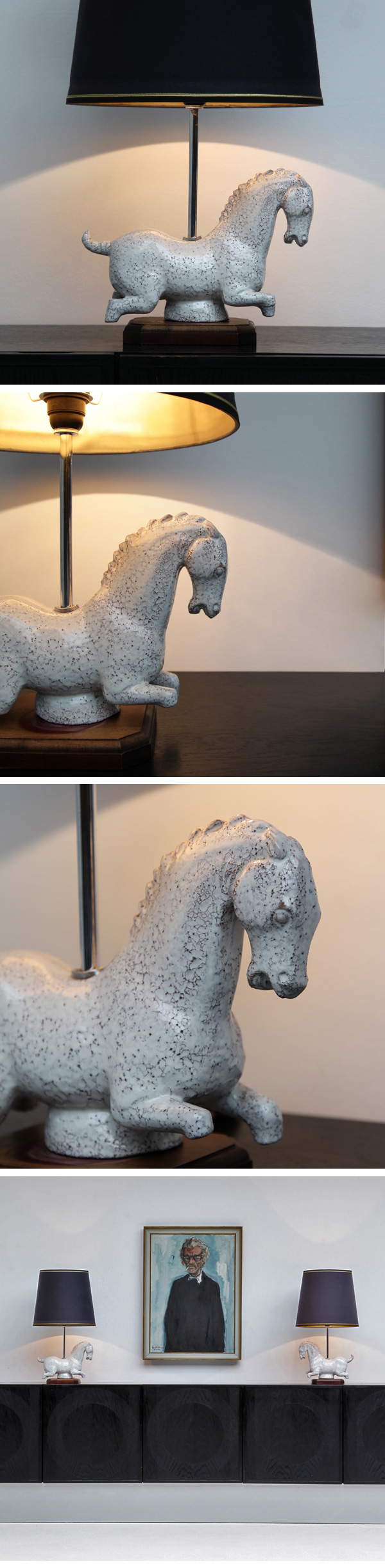 Ceramic, Table, Lamps, Dynasty, Horse