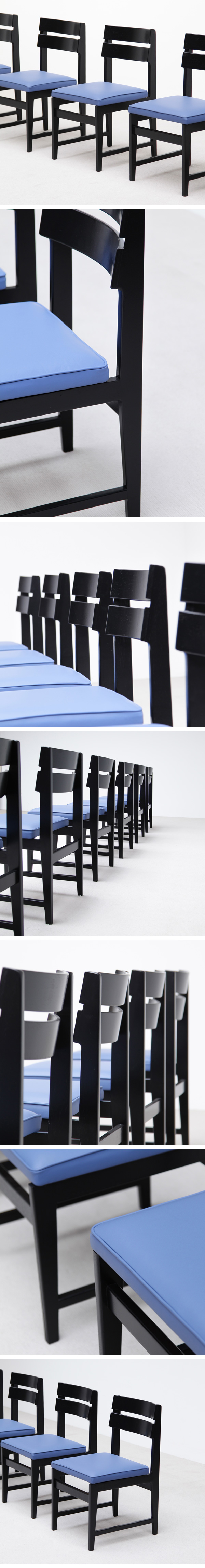 black, ebonized, dinning, chairs, Emiel Veranneman, decorative