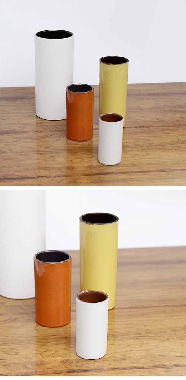 CERAMIC, DECORATIVE, CYLINDER, VASES