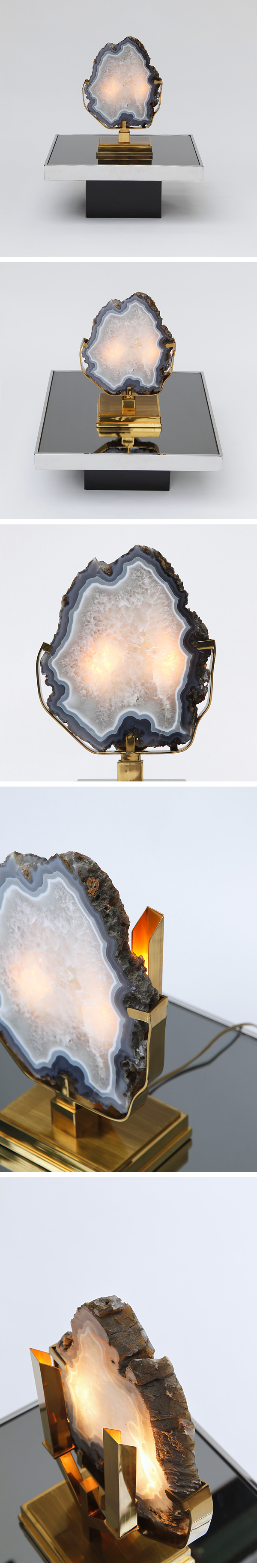 Willy Daro, Table Lamp, Agate, 1970's