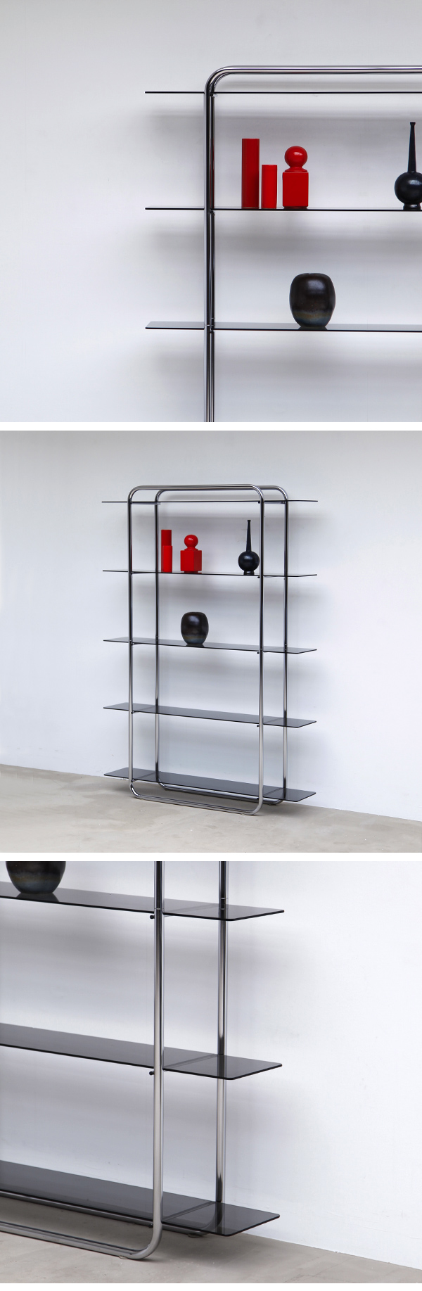 Beautiful, Bold, Chrome, Glass, Shelving, Etagere