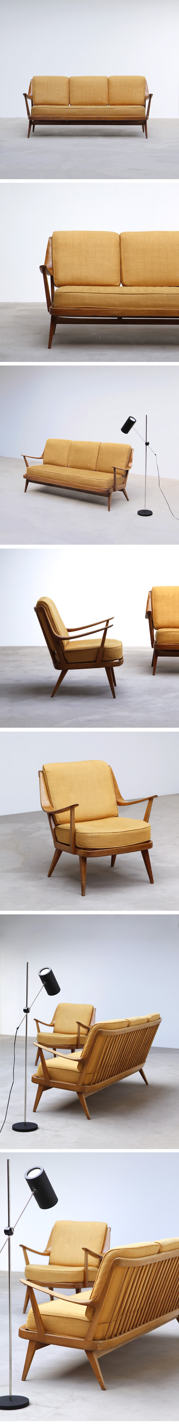 50s, cocktail, sofa, set, marked, knoll