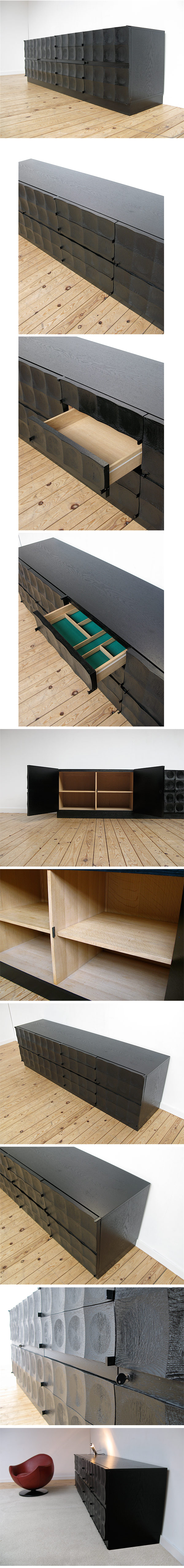Milo Baughman, ebonized, oak, buffet, 1970, Victor Vasarely