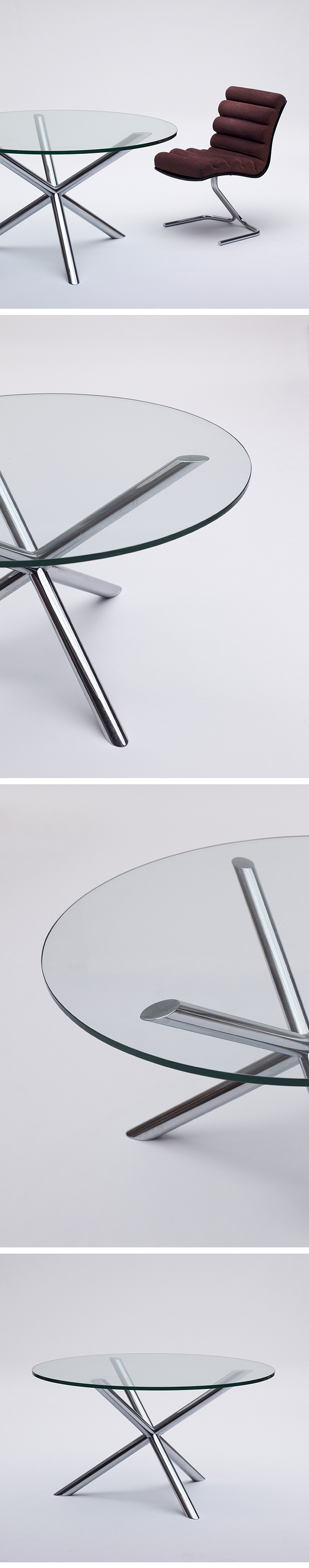 Sculptural, dining, Table, Four, Star, Chrome, Base