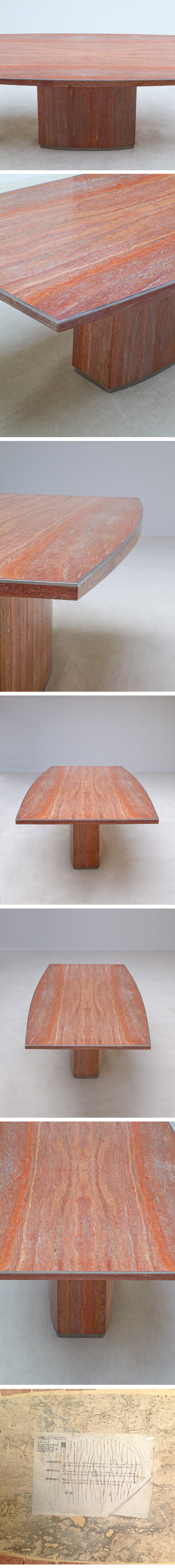 Red, travertin, Willy Rizzo, dining, table, 1970s